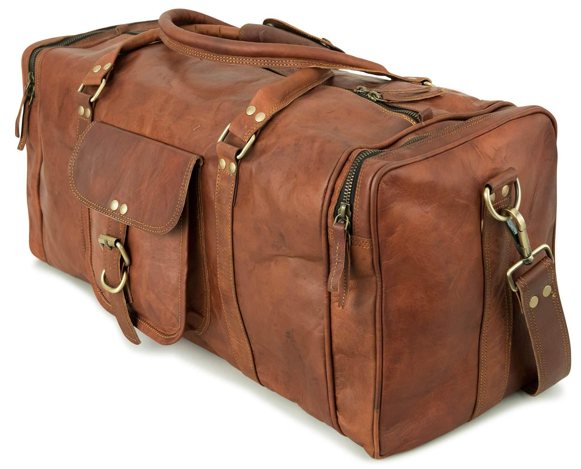 beb85ed720506 Berliner Bags New York Weekender Leder Reisetasche 30l Qualität Vintage  Design Damen Herren Braun Groß 55x40x20