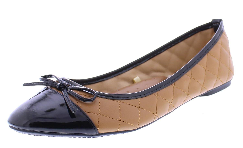 Louisa Womens Black Cap Toe Flats Patent Leather Ballet Flat Comfort Dress Shoes