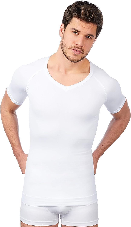 UnsichtBra Shapewear V Ausschnitt Kurzarm Unterhemd Herren Body Shaper Funktionsshirt Herren Bauchweg Kompressionsshirt Unterziehshirt Weiss