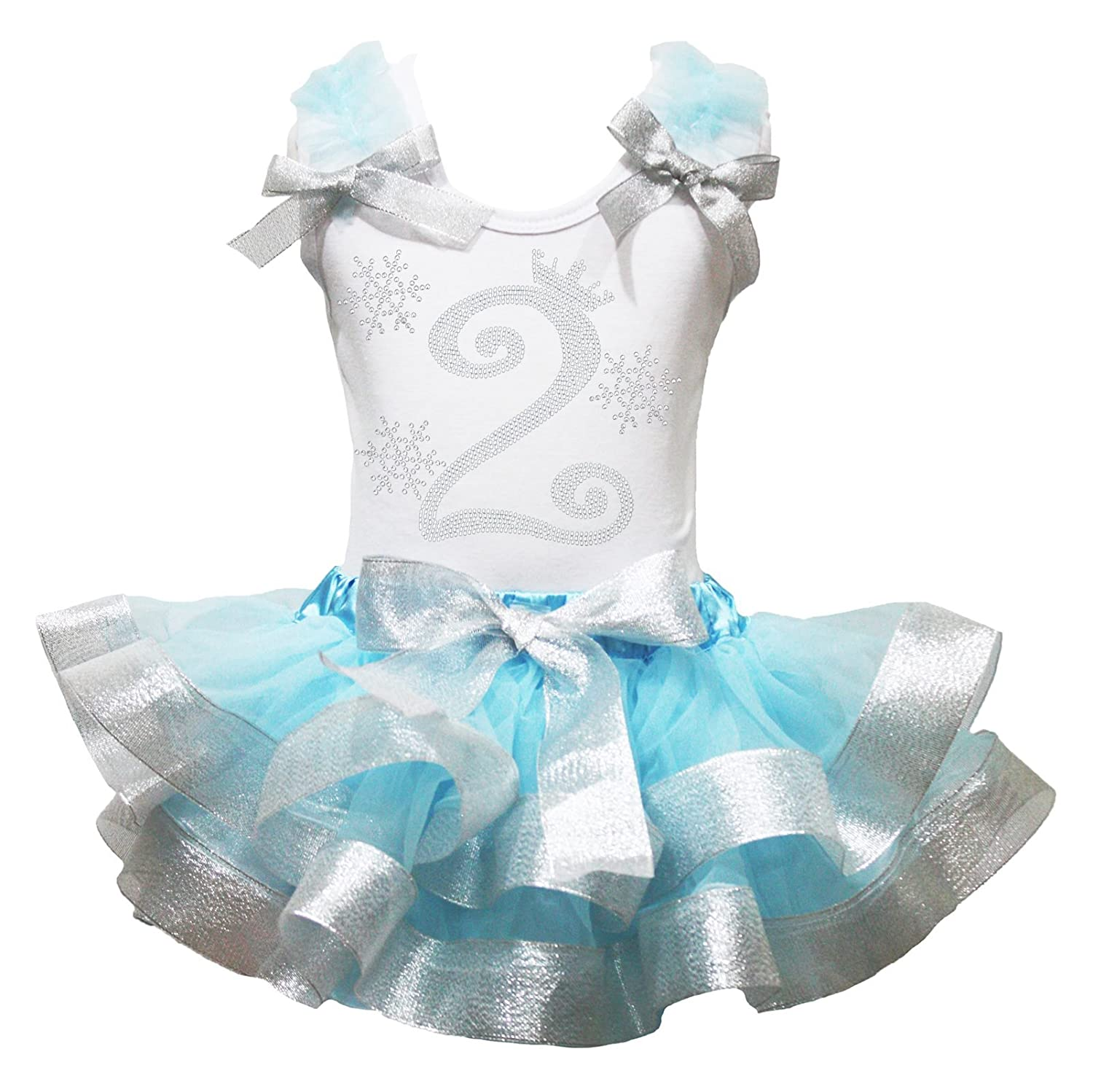 2nd Snowflake Dress White Shirt Silver Trim Blue Petal Skirt Girl Outfit 1-8y