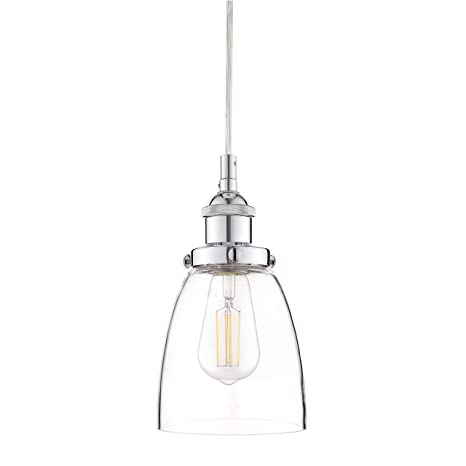 Fiorentino Chrome Pendant Light   W/ Clear Glass Shade   Linea Di Liara  LL P281 PC     Amazon.com