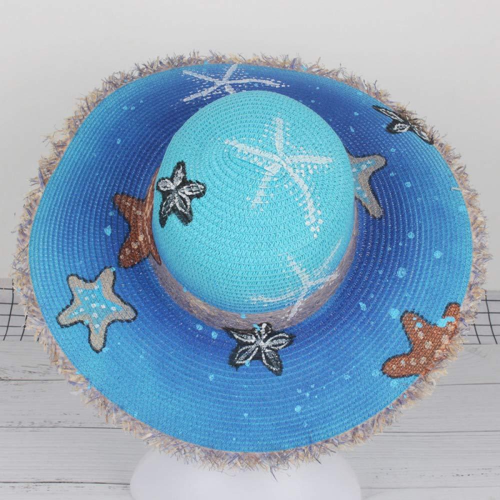 Playa de Verano Sombrero de Playa Gran Visera Pintada a Mano WGYXM Sombrero Sombrero de Paja Plegable Pintada a Mano
