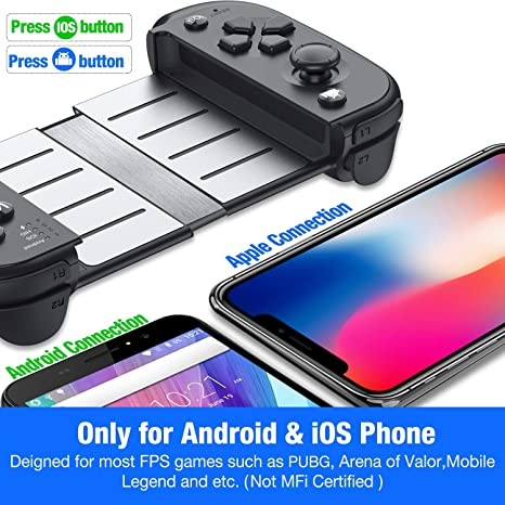 Mobile Game Controller for PUBG, ESYWEN Phone Game Controller for  iPhone/Android/iOS Wireless Mobile Gamepad Remote
