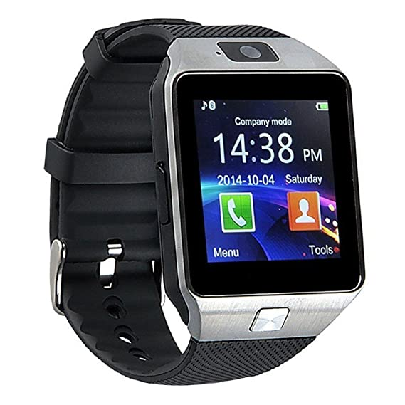 ef66a727f611 DZ09 Bluetooth Smart Watch GSM SIM Card Smartwatch with Camera for iPhone  and Android Smartphones (Silver)  Amazon.ca  Watches
