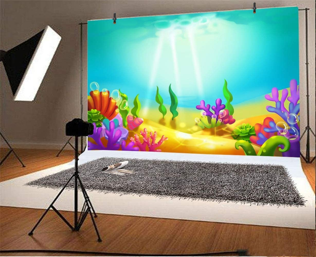 Cartoon Seabed Backdrop Polyester 10x6.5ft Fairytale Sunshine Light Beams Go Through The Blue Seawater Sea Plants Colorful Corals Gloden Seafloor Background Baby Birthday Party Banner Cake Smash