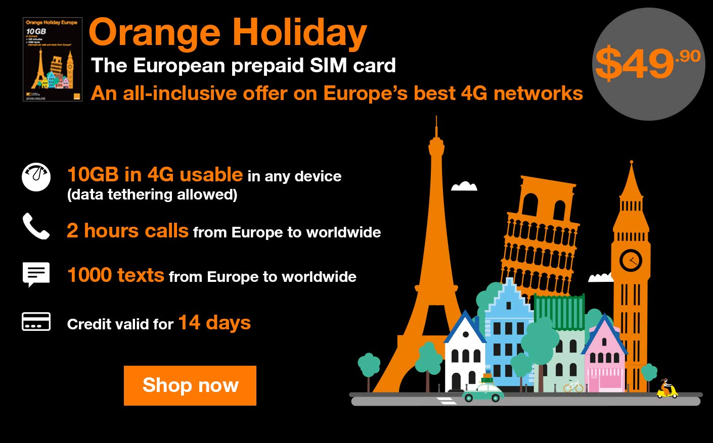 amazoncom orange holiday europe prepaid sim card 10gb internet data in 4glte data tethering allowed 120 mn 1000 texts in 30 countries in - Prepaid Sim Card Europe Data