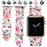 Allbingo Cute Bands for Apple Watch,Women Men Floral Replacement Strap Wristband Small Large for Apple Watch 38mm 42mm Series 3 Series 2 Series 1 Sport Nike+ and Edition