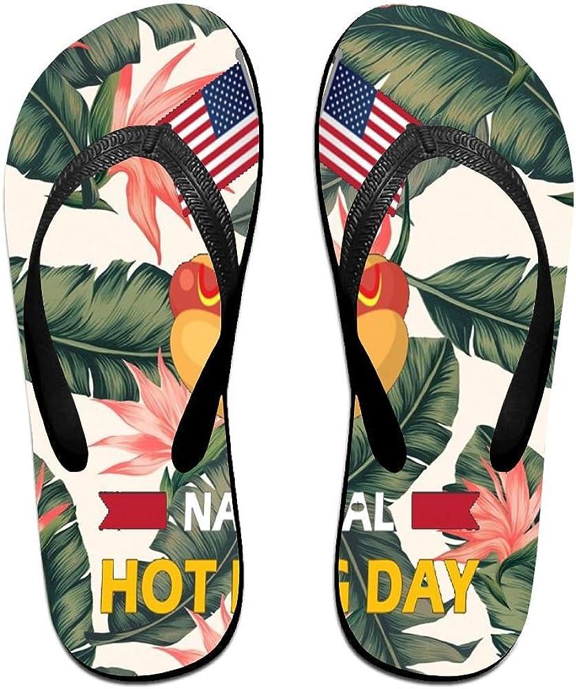 Tailing Flip Flops National Hot Dog Day Unisex Trendy Print Slippers Beach Sandal
