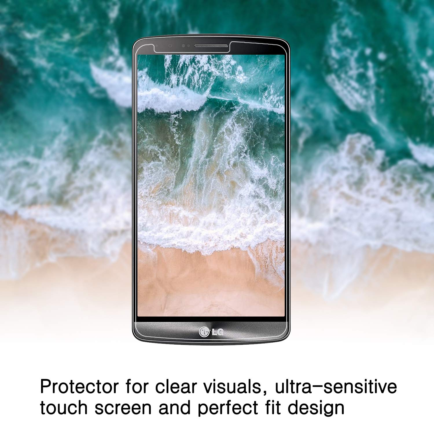 KATIN LG G3 Screen Protector - Easy to Install with Lifetime Replacement Warranty 2-Pack Tempered Glass Screen Protector for LG G3 Bubble Free