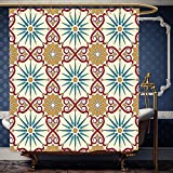 Wanranhome Custom-made shower curtain Moroccan Eastern Islamic Sacred Geometry Art Figures with Classic Damask Elements Imagewith Hooks Mustard Beige For Bathroom Decoration 72 x 108 inches