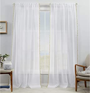 Exclusive Home Curtains Tassels Embellished Sheer Rod Pocket Curtain Panel Pair, 54x96, Linen