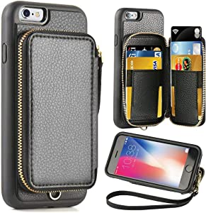 ZVE Case for Apple iPhone 6 Plus and iPhone 6s Plus, 5.5 inch, Leather Wallet Case with Credit Card Holder Slot Zipper Wallet Pocket Purse, Cover for Apple iPhone 6 / 6s Plus - Black