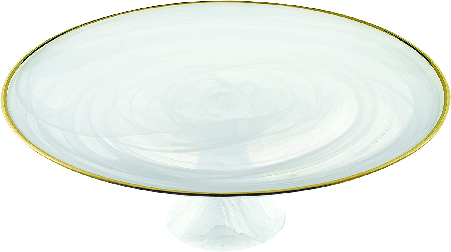 White Alabaster Glass with Gold Trim 13