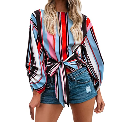 3fafd720e23 vermers Clearance Women Summer Long Sleeve Shirts Casual Patchwork Bandage T -Shirt Loose Blouse Tops at Amazon Women s Clothing store