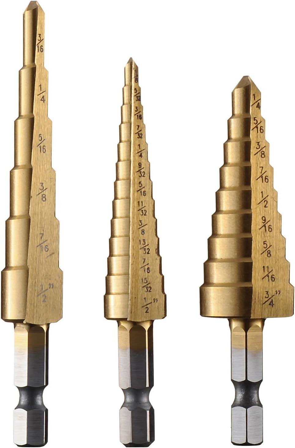 Set 3Pcs Steel Titanium Nitride Coated Step Drill Bit Quick Change 1//4 Shank
