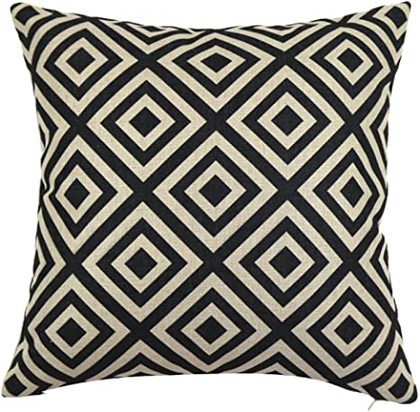 Chezmax Square Black And White Geometric Printed Cushion Cover Cotton Throw Pillow Case Sham Slipover Pillowslip Pillowcase For Men Women Office Chair Back Seat Home Kitchen