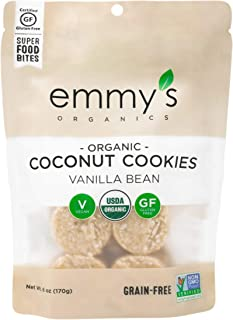 product image for Emmy's Organics Coconut Cookies, Vanilla Bean, 6 oz (Pack of 8) | Gluten-Free Organic Cookies, Vegan, Paleo-Friendly