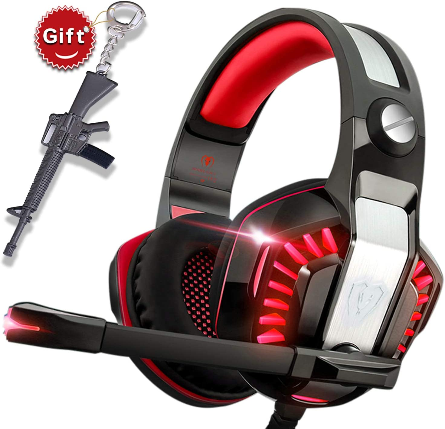 Gaming Headset for Xbox One,PS4,PC,Laptop,Tablet with Mic,Pro over Ear Headphones,Two Free 3.5mm Y Splitter,Noise Canceling,USB Led Light,Stereo Bass Surround for kids,Mac,Smartphones
