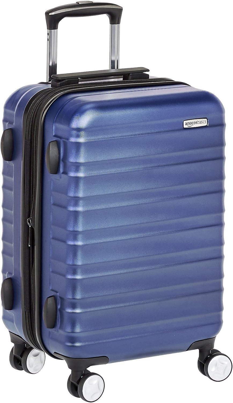AmazonBasics - Maleta de mano rígida de alta calidad, con ruedas y cerradura TSA incorporada, 55 cm, Azul