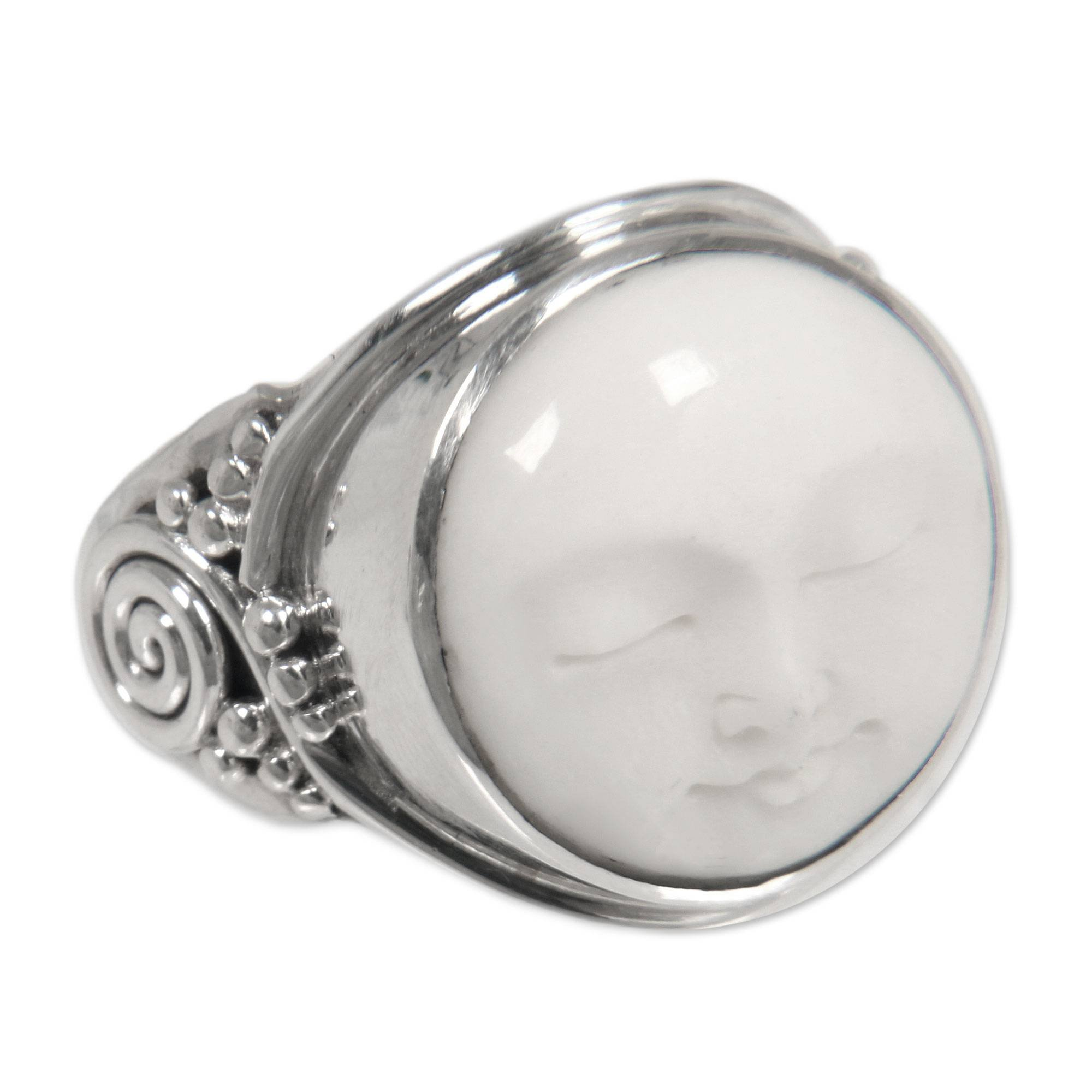 NOVICA .925 Sterling Silver Handcrafted Cow Bone Cocktail Ring 'Face of the Moon'