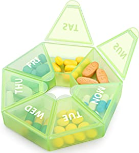 XL Weekly Pill Organizer,Extra Large 7-Sided Portable Pill Box Medicine case for Vitamin/Fish Oil/Pills/Supplements-Arthritis Friendly (Green)