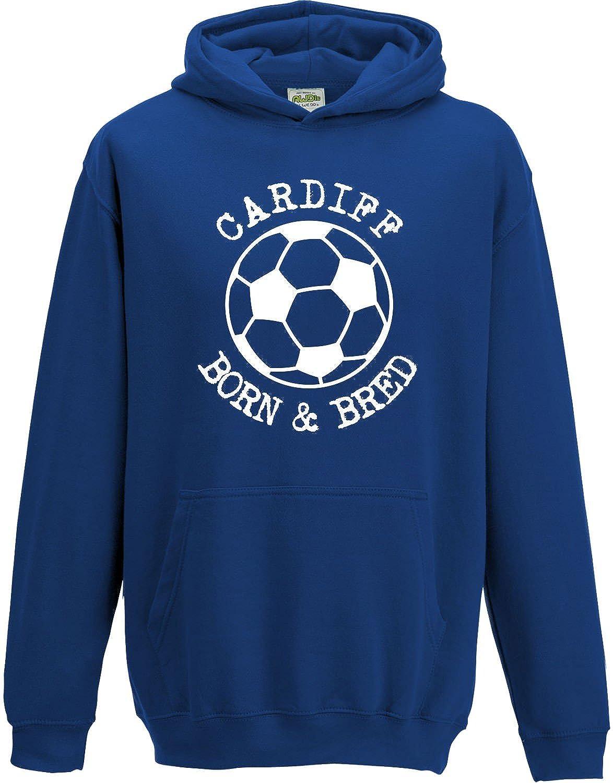 Hat-Trick Designs Cardiff City Football Baby/Kids/Childrens Hoodie Sweatshirt-Royal Blue-Born & Bred-Unisex Gift
