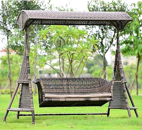 ZDYLM-Y Columpio Balancín Jardín de 3 plazas a Prueba de Lluvia oscilación del jardín Banco con toldo Desmontable, para el Balcón: Amazon.es: Deportes y aire libre