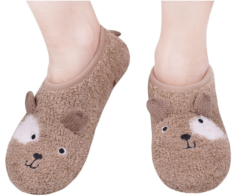Amorismo Womens Floor Slipper Socks Non Skid Winter Warm ASOCKSLIPPERS1BLACKW
