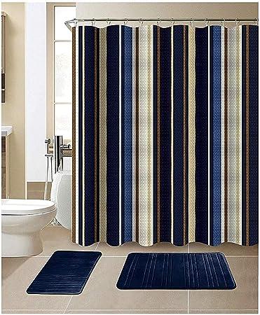 Striped Purple White 15-Piece Bathroom Accessory Set 2 Bath Mats Shower Curtain