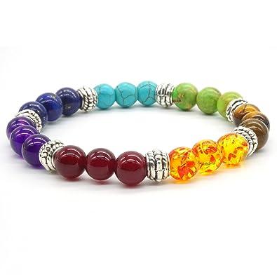 Bracelet de perles en pierre Turquoise naturelle 7 Reiki Chakra élastique  femmes tibétaines hommes coloré Bracelet