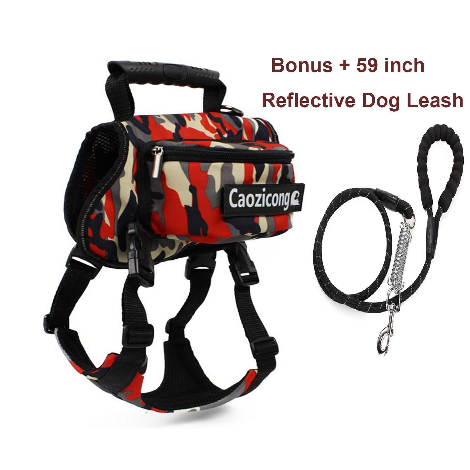 NeatoTek Adjustable Service Dog Supply Backpack Saddle Bag Large Capacity Tripper Hound Bag for Camping Hiking Training for Large and Extra Large Dog with Dog Reflective Leash