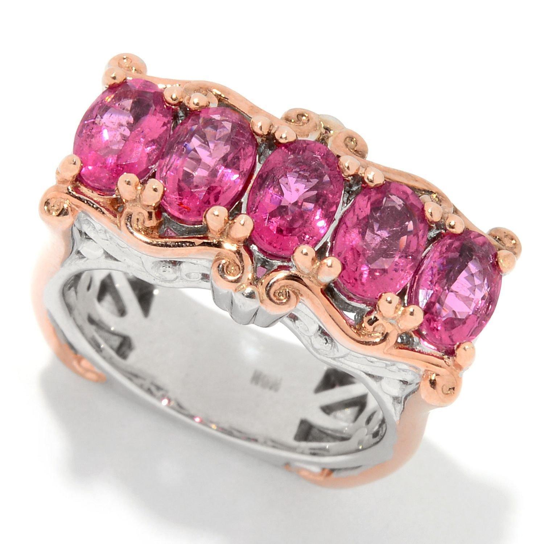 Amazon.com: Michael Valitutti Palladium Silver Rubellite Five-Stone ...