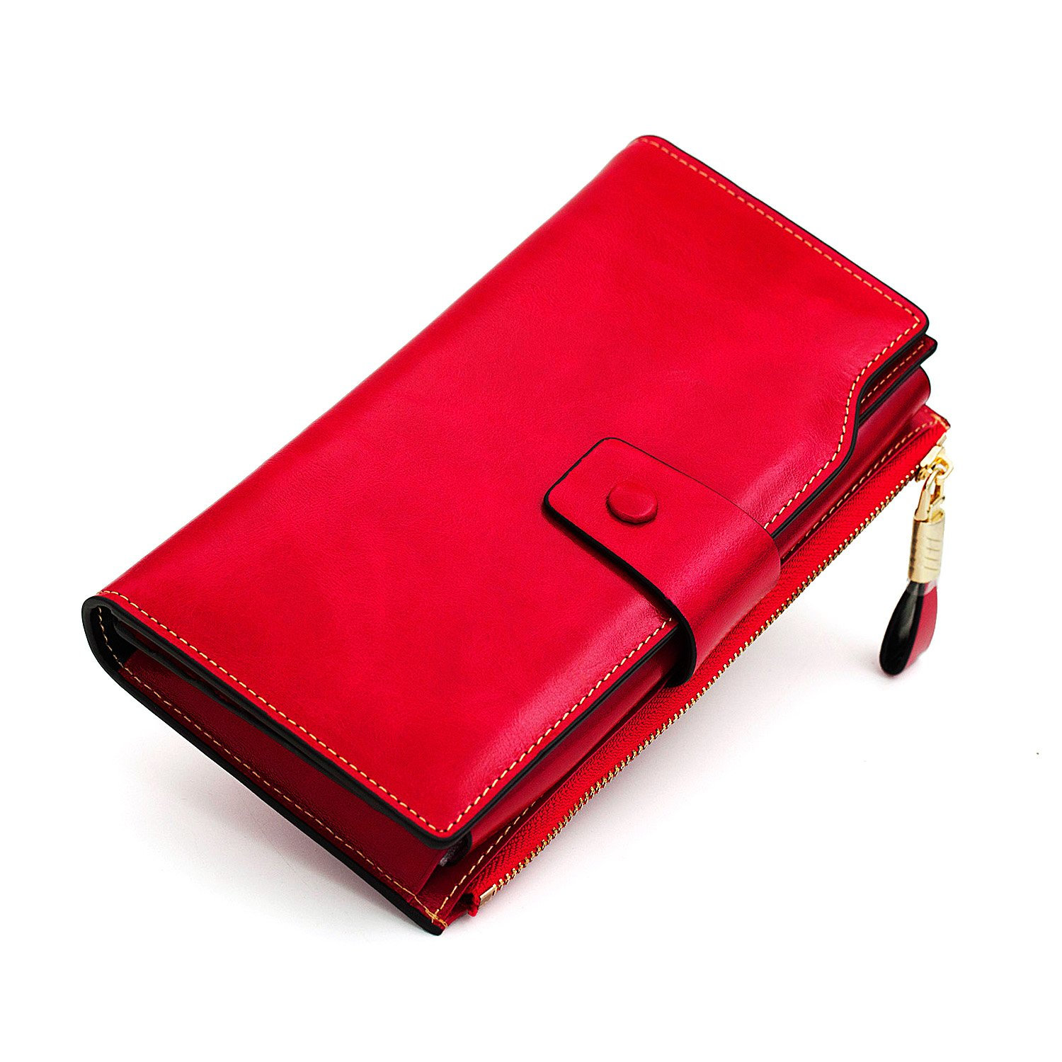 Women's Large Capacity Luxury Genuine Leather Wallet Clutch with Zipper Pocket