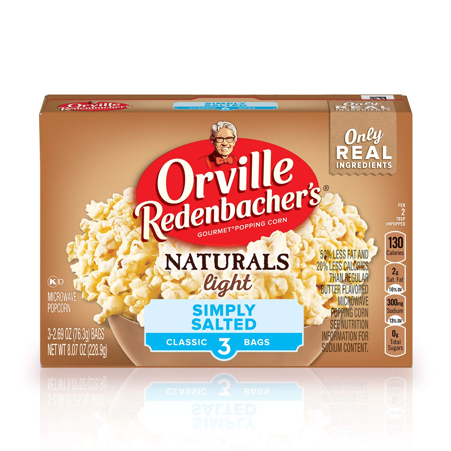 Orville Redenbacher's Naturals Light Simply Salted Popcorn, Classic Bag, 3-Count