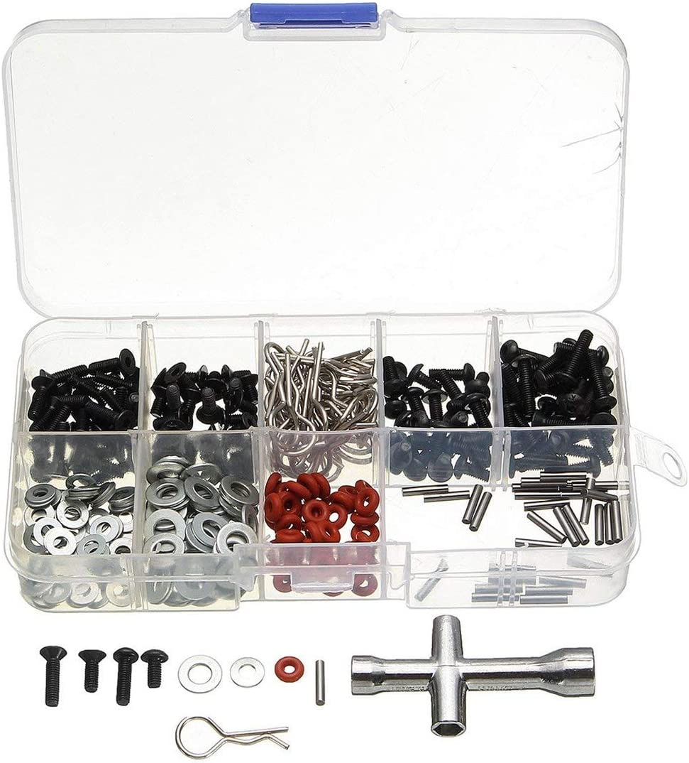 270pcs Tornillos de cabeza plana + Arandela plana N3 / 4 con caja de llave hexagonal Kit de herramientas de reparación especial para 1/10 HSP RC Accesorios para automóviles (Multicolor) ESjasnyfall