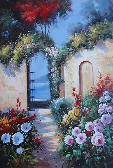 BeyondDream Oil Painting 36u0026quot;x24u0026quot; Beauteous Back Flower Garden  Roses Arch Gate ...