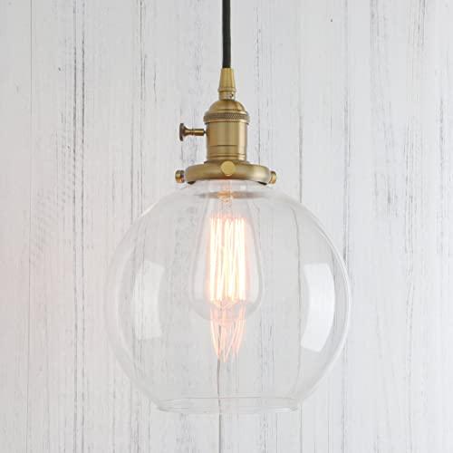 Permo 1-Light Vintage Industrial Clear Glass Hanging Pendant Light with 7.9 Globe Round Shade Antique