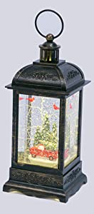 Gerson Red Truck with Cardinals Lighted Snow Globe with Swirling Glitter - 10.5 Inch Bronze Color Lantern
