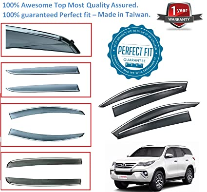 Car Door Window Visor Sun Rain Guard Deflector for Toyota Fortuner New Made  in Taiwan  Amazon.in  Car   Motorbike e8d0d46d808