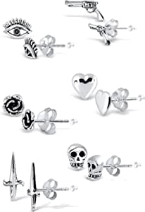 Adeley 6 Pairs Mix And Match Sterling Silver Earrings Set, Gothic Style Stud Earring Set, Minimalist Earring Studs, Small Earrings, Casual Earring Sets With Rubber Earring Backs And Polishing Cloth