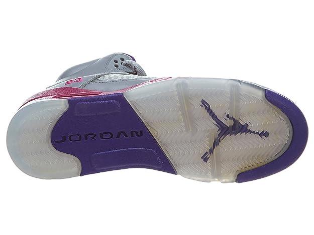 separation shoes 3e0e9 982ea Amazon.com  Nike KidsGirls Air Jordan Retro 5 440892 009 Cement Grey Pink  Foil Raspberry Red (kids 6.5, Cement Grey Pink Foil Raspberry Red)  Shoes