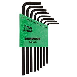 Bondhus 31832 Set of 8 Star L-wrenches, Long Length, sizes T6-T25