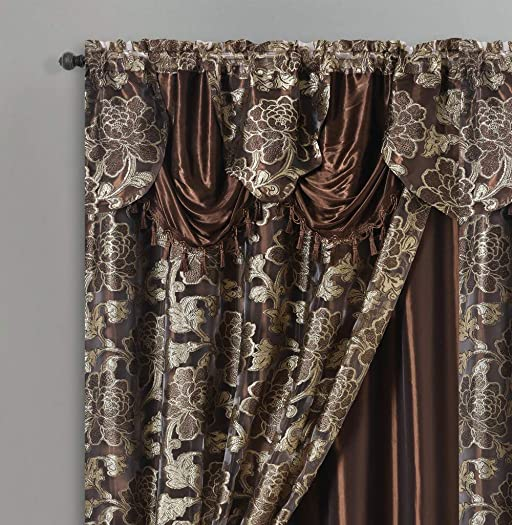 ROYAL ROSARIUM. Clipped voile voile jacquard window curtain panel drape with attached fancy valance taffeta backing. 2pcs set. Each pc 54 wide x 84 drop 18 valance. BROWN