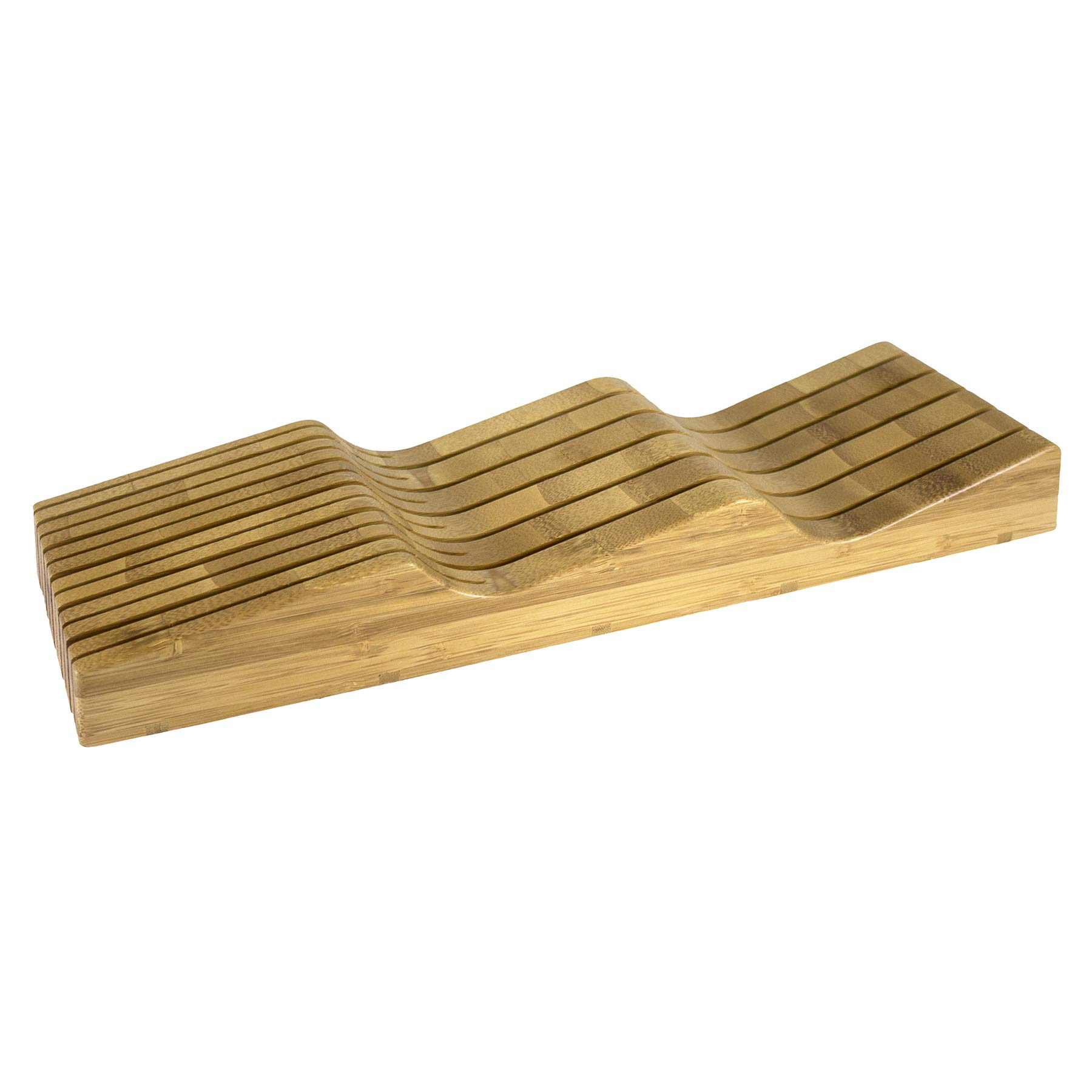 Totally Bamboo In Drawer Knife Block, 100% Organic Bamboo Knife Block, Holder, Storage Organizer; This Eco Friendly Knife Organizer Holds up to 15 Knives. Keep your counter tops clear and Knife Safety