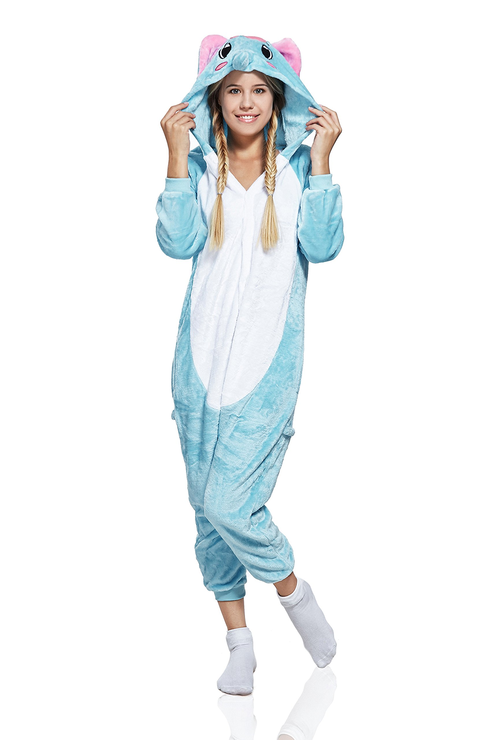 Adult Elephant Onesie Pajamas Animal Kigurumi Cosplay Costume One Piece Fleece PJS (Small, Light Blue/White)