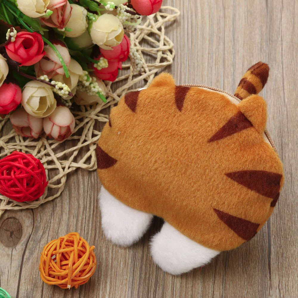 Amazon.com | Cute Cat Butt Tail Plush Coin Purse Change Purse Bags Wallet Bag Purse Wallet (Yellow) | Luggage & Travel Gear