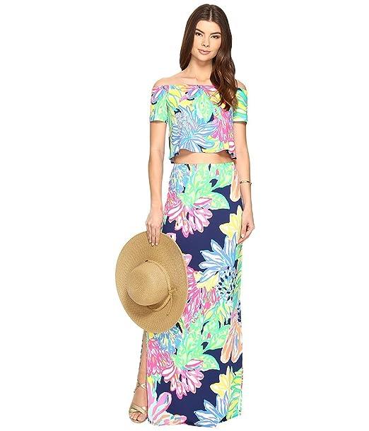 66626feed67fff Lilly Pulitzer Women's Mansi Set Resort Navy Travelers Palm Clothing Set