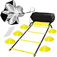 Deerma Speed and Agility Ladder Training Set with 6 Cones and Resistance Parachute