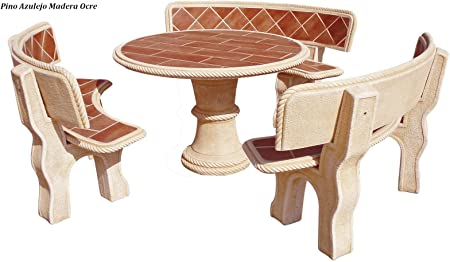 Conjunto Mesa Comedor Jardin DE Piedra Artificial con Fibra.Mesa Redonda + 3 Bancos .Pino Ocre (Madera): Amazon.es: Hogar