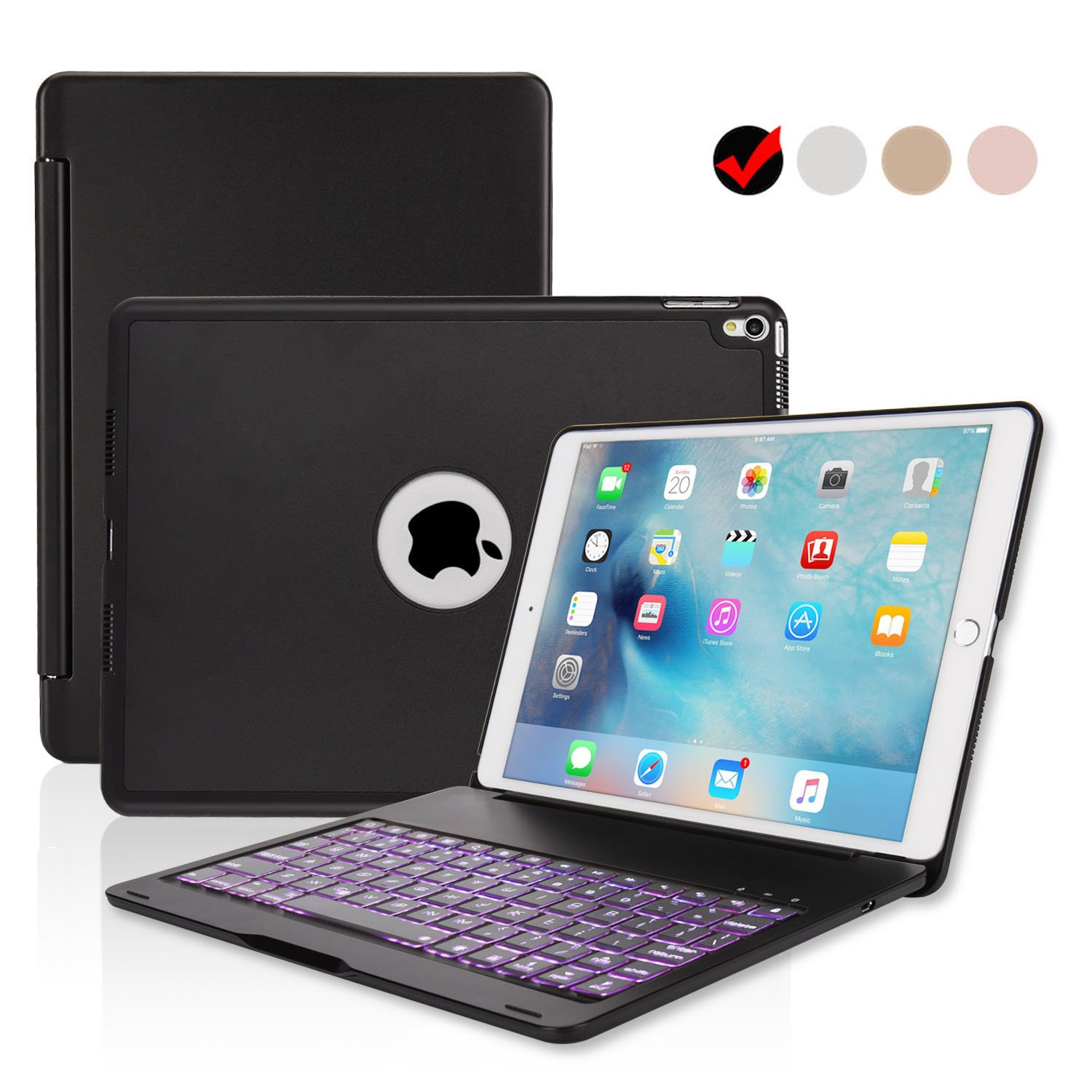 ipad Pro 10.5 Keyboard Case, ONHI Wireless Bluetooth Keyboard Case Aluminum shell Smart Folio Case with 7 Colors Back-lit, Auto Sleep / Wake, Silent Typing, the Screen can be Rotated 135 ° (Black) by ONHI